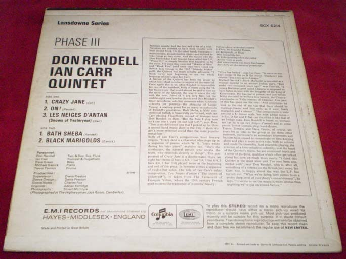 Don Rendell & Ian Carr Quintet - Phase III LP