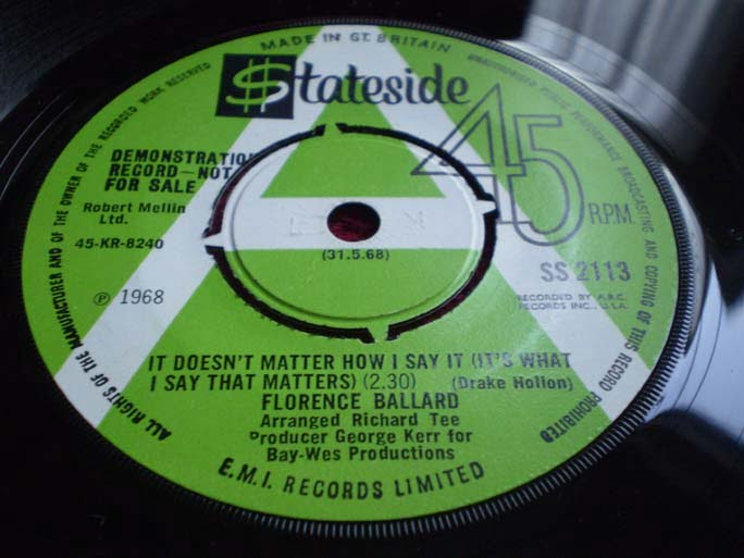 Florence Ballard - It Doesn't Matter How I Say It 45